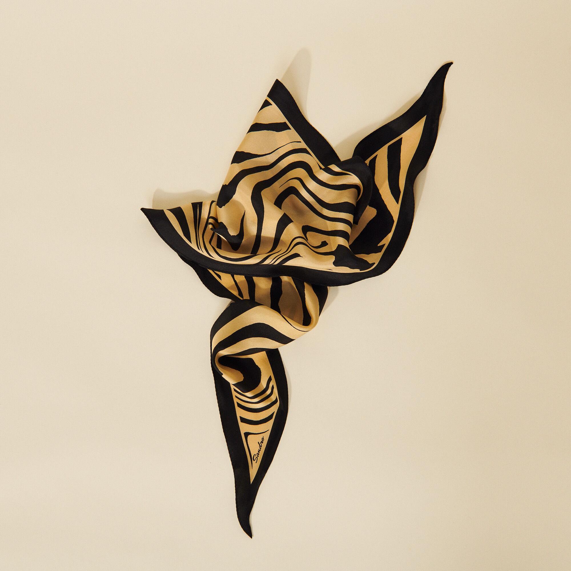 Printed silk scarf, diamond shape - Sandro - Modalova