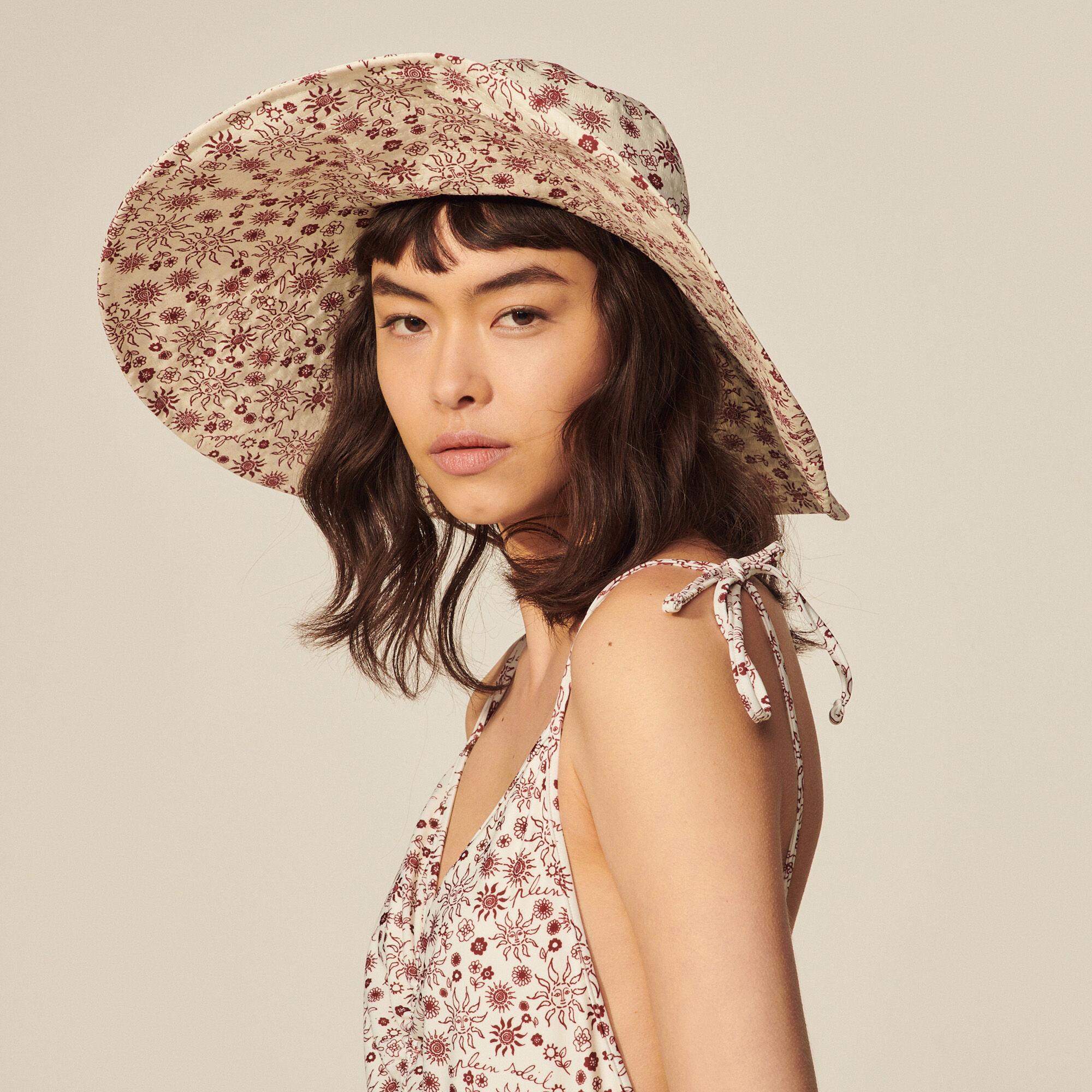 Printed cotton floppy hat - Sandro - Modalova