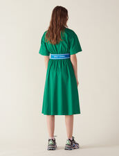 Cotton Satin Dress : null color Green