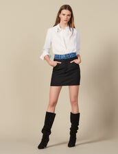 Short trompe l œil effect skirt : Skirts & Shorts color Black
