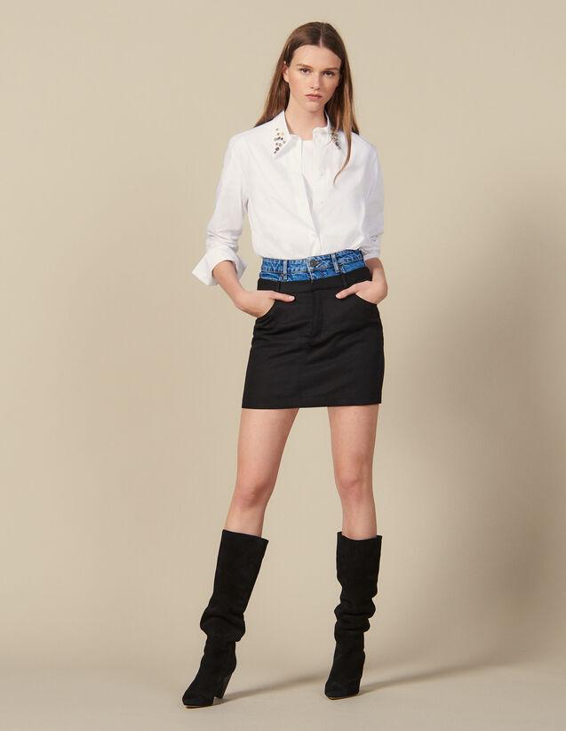 Short trompe l œil effect skirt : Skirts & Shorts color Black