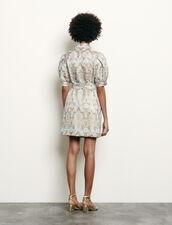 Brocade coat dress : Dresses color Gold / Blue