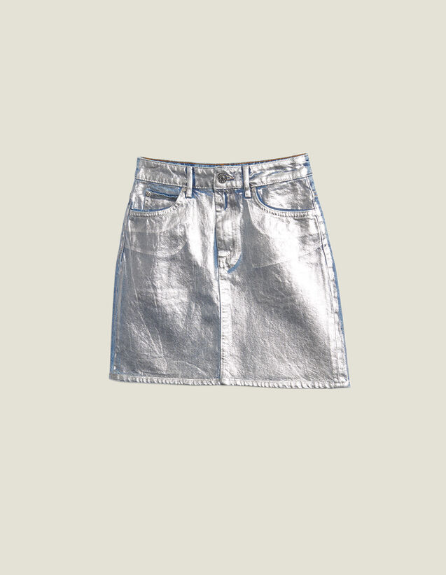 Coated Denim Skirt With Silver Effect : null color Silver