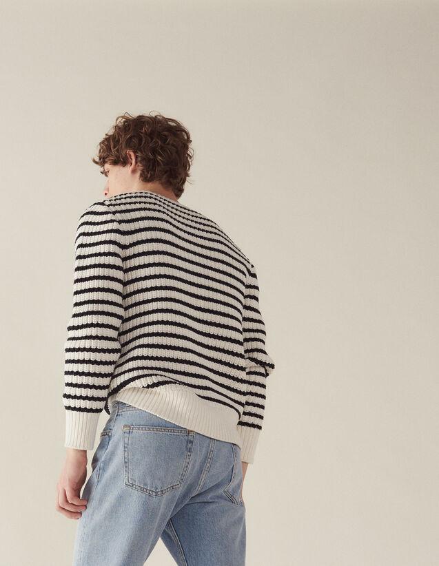 Breton Sweater With Fancy Rib : Sélection Last Chance color Ecru