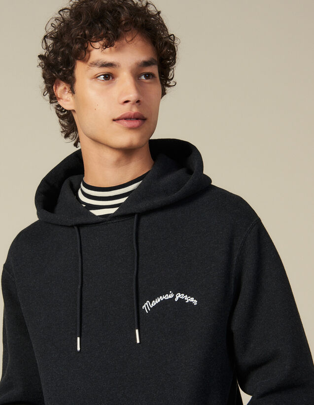Hoodie With Lettering Embroidery : All Winter collection color Dark Grey