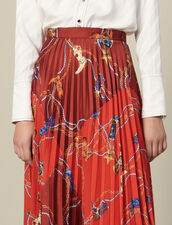 Printed Long Skirt With Pleats : Copy of VP-FR-FSelection-Jupes&Shorts color Red