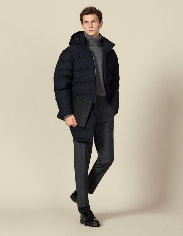 Long padded jacket with hood : Trench coats & Coats color Navy Blue