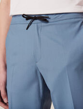 Smart Drawstring Waist Trousers : Pants & Shorts color Steel blue