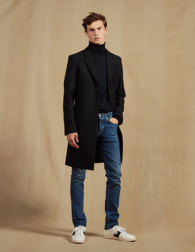 Long Coat Fastened With Three Buttons : Trench coats & Coats color Navy Blue