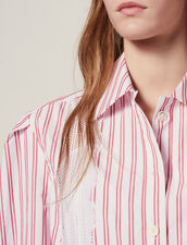 Striped Shirt With Lace Detail : null color Red