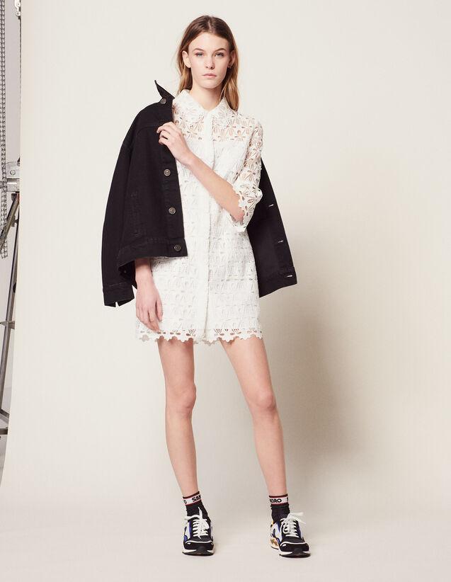 Guipure Coat Dress : null color Ecru