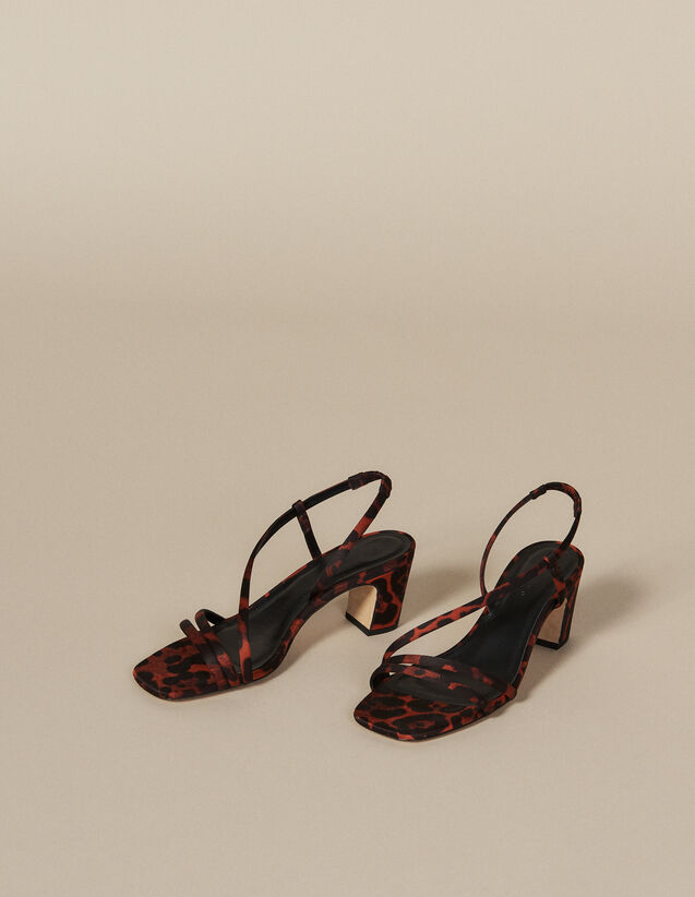 Leopard print fabric sandal : Let's go girls color Orange leopard
