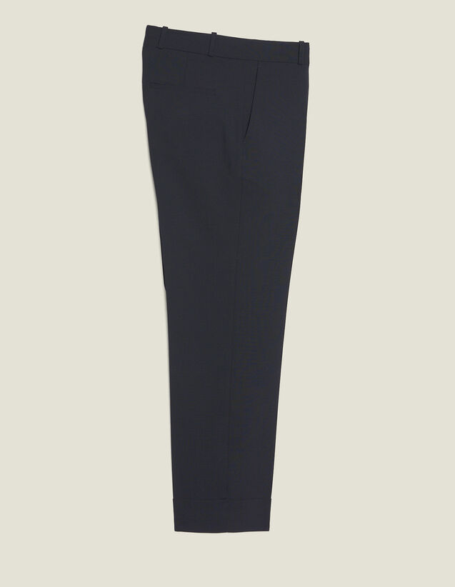 Carrot-Cut Trousers With Turn-Ups : SOLDES-CH-HSelection-PAP&ACCESS-2DEM color Navy Blue