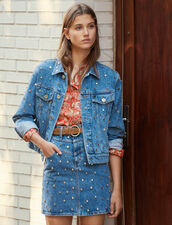 Denim Jacket Trimmed With Studs : New In color Blue Jean