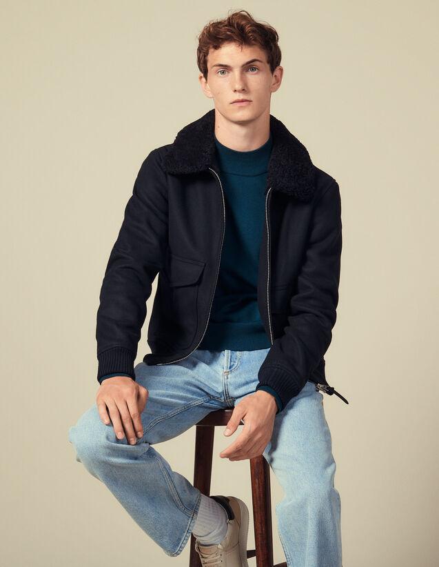 Aviator Jacket With Sheepskin Collar : Blazers & Jackets color Camel