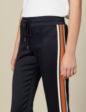 Jersey Jogging Bottoms With Stripes : Pants color Navy Blue