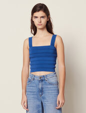Cropped Knit Top : null color Blue Jean