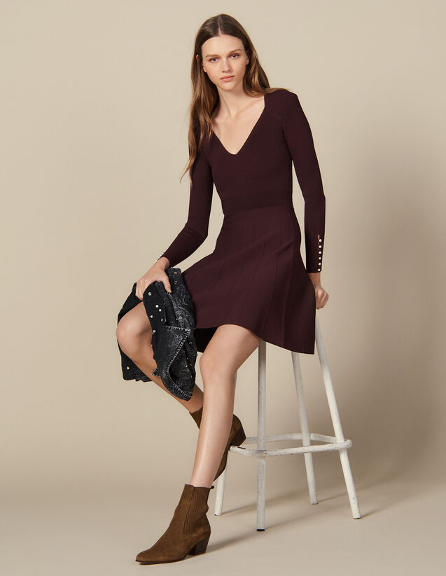 Knit Dress With Jewelled Buttons : Dresses color Brown