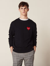 Cotton Sweatshirt With Flocked Heart : All Ready-to-wear color Navy Blue