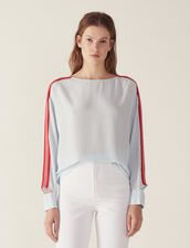 Top With Graphic Braid Trim : Printed shirt color Sky Blue