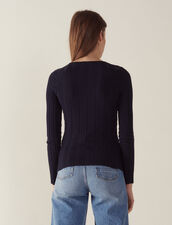 Long-Sleeved Cotton Sweater : null color Navy Blue