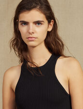 Ribbed Knit Sleeveless Top : Tops & Shirts color Black
