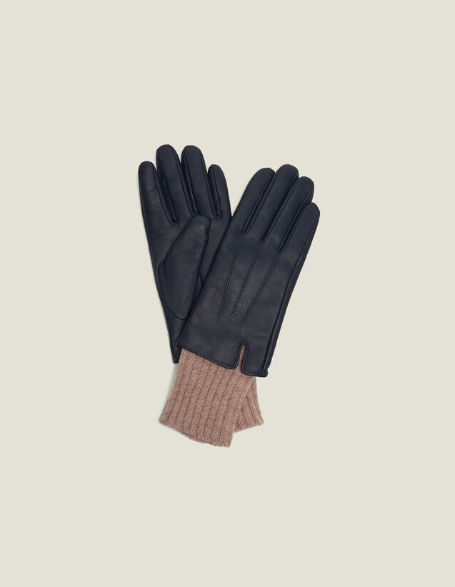 Leather Gloves With Knit Cuffs : All Winter collection color Black Brown