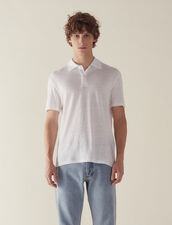Short-Sleeved Linen Polo Shirt : Sélection Last Chance color white