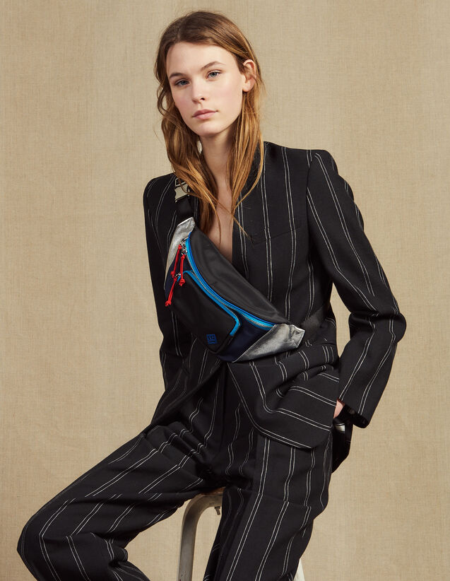 Matching Striped Blazer : null color Black