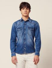 Faded Denim Shirt : SOLDES-CH-HSelection-PAP&ACCESS-2DEM color Blue Vintage - Denim