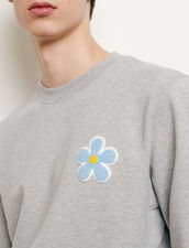 Sweatshirt with embroidered patch : Sweatshirts color Mocked Grey