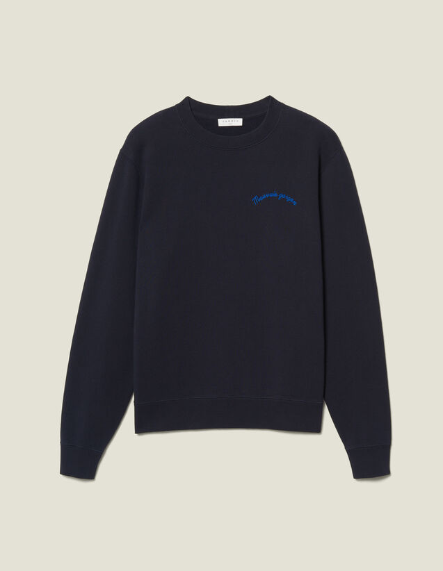Sweatshirt With Lettering : Sweatshirts color Navy Blue