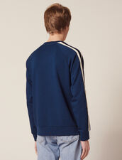 Cotton Sweatshirt With Braid Trims : All selection color Navy Blue