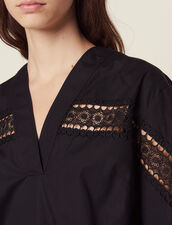 Cotton Top With 3/4 Sleeves : null color Black
