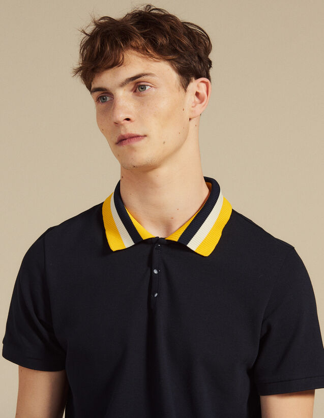 fa7857c2c Cotton Polo Shirt With Varsity Collar   T-shirts   Polo shirts color white