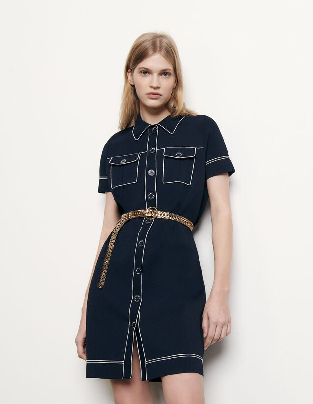 Knit dress with contrasting topstitching : Dresses color Navy Blue