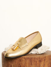 Metallic leather loafers : All Shoes color Gold