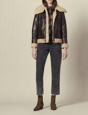 Sheepskin aviator jacket : Coats color black brown