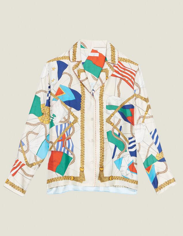 Printed Pyjama-Style Shirt : FAnciennesCollections color Ecru