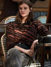 Hairy Striped Jacquard Sweater : LastChance-ES-F50 color Black / Acajou