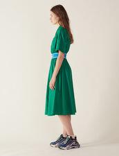 Cotton Satin Dress : Dresses color Green