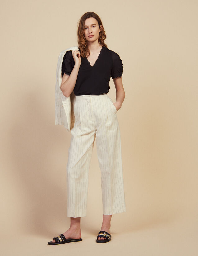 Wide-Leg Tailored Trousers : LastChance-FR-FSelection color white