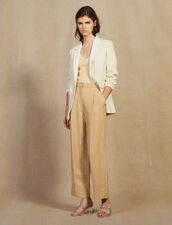 Wide Trousers With Darts : null color Beige