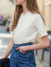 T-shirt with studs on the collar : T-shirts color Ecru
