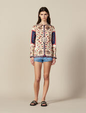 Floaty Printed Silk Shirt : null color Blue