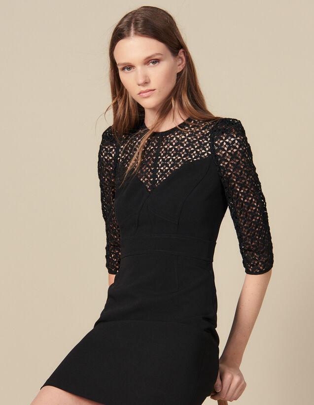 Short dress with insert : LastChance-ES-F50 color Black
