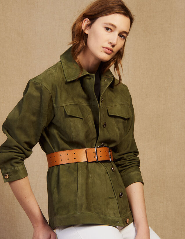 Leather Overshirt-Style Jacket : Blazers & Jackets color Olive Green