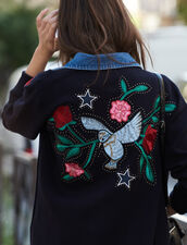Embroidered cardi-coat with denim collar : FBlackFriday-FR-FSelection-30 color Navy Blue