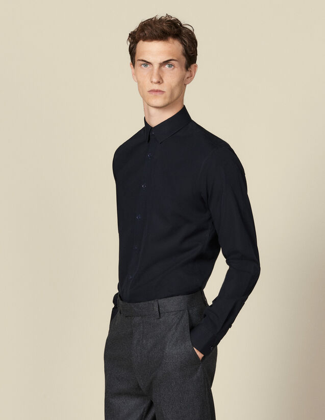 Non-iron shirt : Shirts color Navy Blue