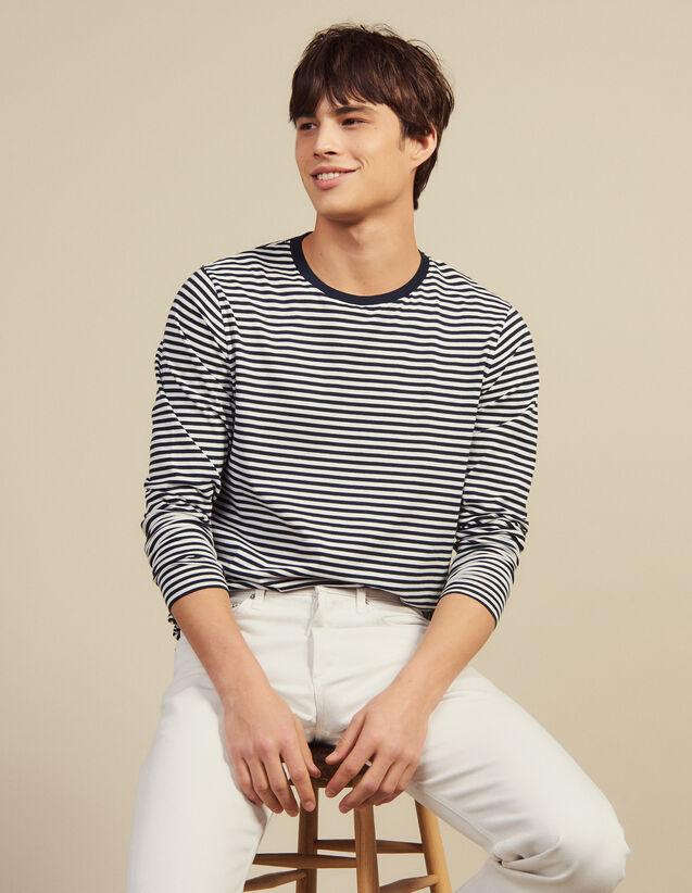 Long-Sleeved Breton T-Shirt : T-shirts & Polo shirts color Navy/White